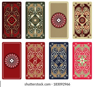 Colorful vector design for Tarot, playing cards, poker cards, reverse side. Geometric ornamental pattern, background. Abstract rectangular template