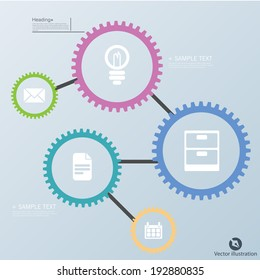 Colorful vector design for workflow, web design, infographics.