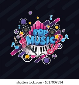 Colorful vector detailed Pop music illustration. Can be used for background and stickers.