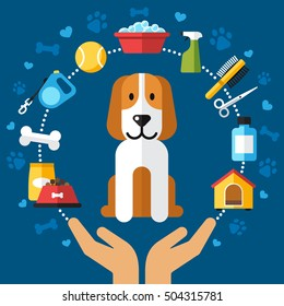 Colorful vector dog care illustration. Human hands holding a puppy, which is surrounded by dog care products. Flat style.