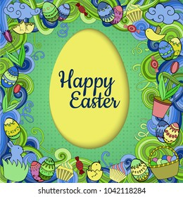 Colorful vector Easter background in paper art style with cartoon doodle objects, symbols and items. Round frame composition. Perfect for cards, prints, flyers, banners, invitations.