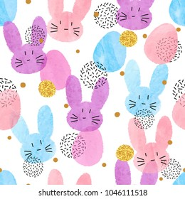 Colorful vector Easter pattern with watercolor bunnies and eggs.
