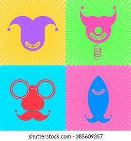 colorful vector flat icon set april stock vector royalty free