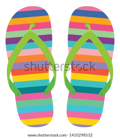 e2c177b47 Colorful vector flip flops with stripes for summer and beach holiday designs