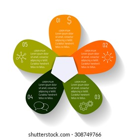 Colorful vector flower infographic banner template. Sequence banners with 5 options. Progress banner template with thin linear diagrams and icons. Business infographic design elements EPS10.