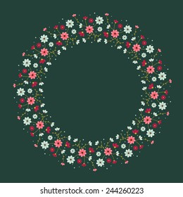 colorful vector flowers circle ornament