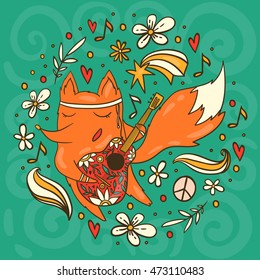Colorful vector fox in hippie style with guitar