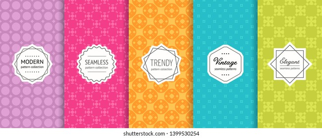 Colorful vector geometric seamless pattern collection. Set of simple background swatches with elegant minimal labels. Abstract modern textures. Illustration in purple, pink, orange, blue, green color