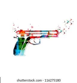 Colorful vector gun with hummingbirds