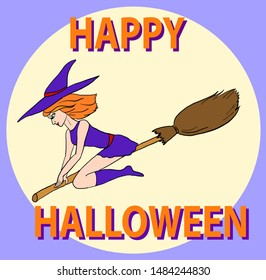 Colorful vector Halloween card with pretty witch on broom