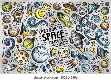 Colorful vector hand drawn doodle cartoon set of SPACE theme items, objects and symbols