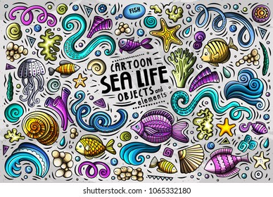 Colorful vector hand drawn doodle cartoon set of Sea Life theme items, objects and symbols