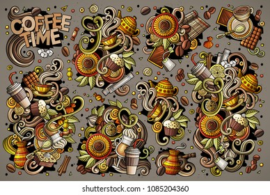 Colorful vector hand drawn doodle cartoon set of tea and coffee theme items, objects and symbols. All objects separate.