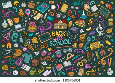 Colorful vector hand drawn doodle cartoon set of School objects and symbols