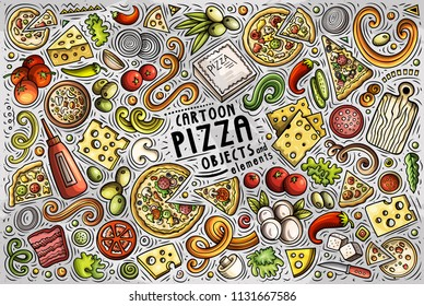Colorful vector hand drawn doodle cartoon set of Pizza theme items, objects and symbols