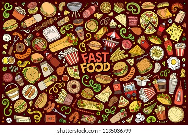Colorful vector hand drawn doodle cartoon set of fastfood objects and symbols