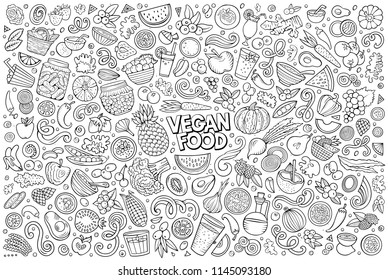 Colorful vector hand drawn doodle cartoon set of Vegan food objects and symbols