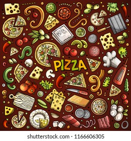 Colorful vector hand drawn doodle cartoon set of Pizzeria objects and symbols