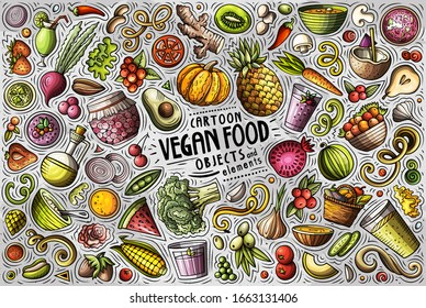 Colorful vector hand drawn doodle cartoon set of Vegan food theme items, objects and symbols