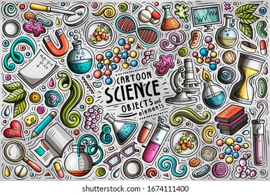 Colorful vector hand drawn doodle cartoon set of Science theme items, objects and symbols
