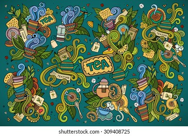 Colorful vector hand drawn Doodle cartoon set of objects and symbols on the tea time theme