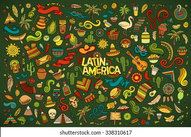 Colorful vector hand drawn Doodle cartoon set of objects and symbols on the Latin America theme