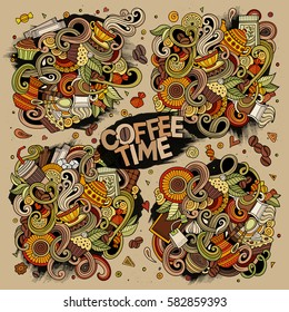 Colorful vector hand drawn doodle cartoon set of tea and coffee theme items, objects and symbols