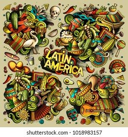 Colorful vector hand drawn doodles cartoon set of Latin America combinations of objects and elements. All items separated.