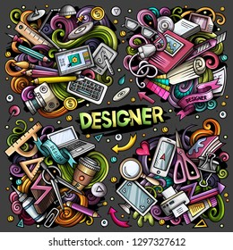 Colorful vector hand drawn doodles cartoon set of Designer combinations of objects and elements. All items are separate