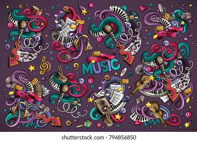 Colorful vector hand drawn doodles cartoon set of music combinations of objects and elements