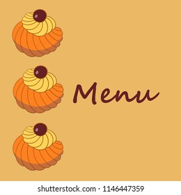 Colorful vector hand drawn  illustration of delicious home made Zeppole pastries. Menu cover.