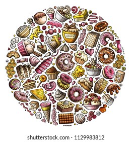 Colorful vector hand drawn set of Sweet food cartoon doodle objects, symbols and items. Round composition