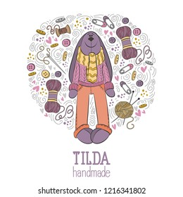 Colorful vector hand drawn set of object Hand Made Tilda doll hare cartoon doodle, symbols and items.