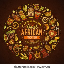 Colorful vector hand drawn set of Africa cartoon doodle objects, symbols and items. Round frame composition