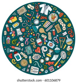 Colorful vector hand drawn set of Medical cartoon doodle objects, symbols and items. Round composition