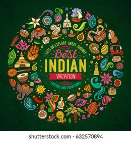 Colorful vector hand drawn set of Indian cartoon doodle objects, symbols and items. Round frame composition