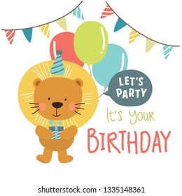 Colorful Vector Happy Birthday Background with Cute Animal