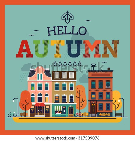 Colorful vector Hello Autumn seasonal background with autumn city landscape | Autumn greeting card, banner or poster template