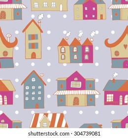 colorful vector houses seamless pattern
