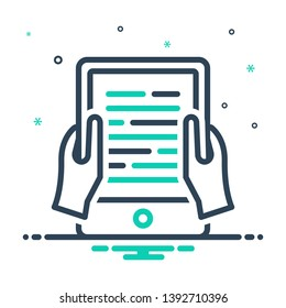 Colorful vector icon for ebook reading