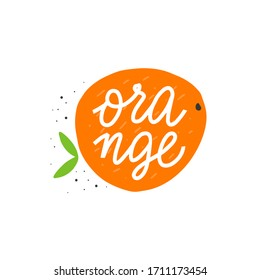 Colorful vector icon of orange. Vegetarian and vegan food in isolated modern design.