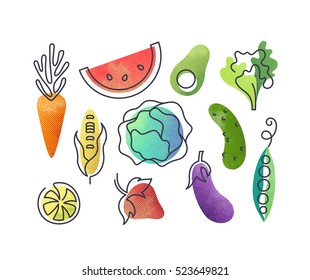 Colorful vector icons' set of fruits and vegetables. Isolated creative design healthy life objects. Vegetarian and vegan food halftone textured and monoline symbols' pack, no gradients