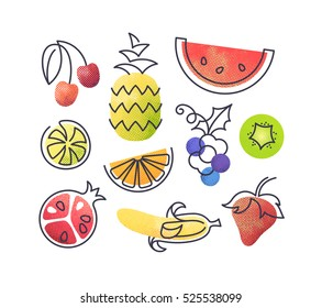 Colorful vector icons' set of fruits. Isolated creative design healthy life objects. Vegetarian and vegan food halftone textured and monoline symbols' pack. No gradients.