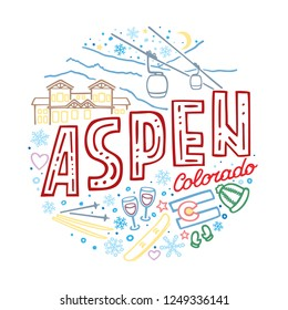 Colorful vector illustration of Aspen, Colorado. Round winter pattern with the main symbols of Aspen with isolated elements. Can be used as a sticker, print for t shirts, posters, cards, articles