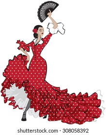 Colorful vector illustration of a beautiful female Spanish flamenco dancer in long red dress with a fan in her hand
