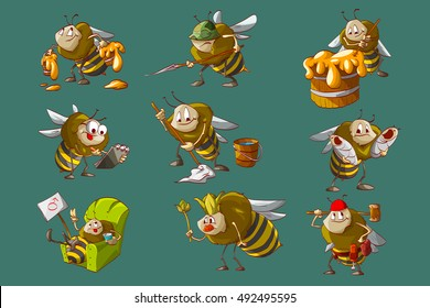 Colorful vector illustration of cartoon bee hive, workers, engeneer, caretaker, cleaner, builder, queen and soldier