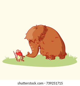 Colorful vector illustration of a cartoon caveman and a woolly mammoth.