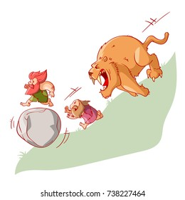 Colorful vector illustration of cartoon cavement, running from a sabertooth tiger, inventing the wheel in the process