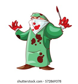 Colorful vector illustration of a cartoon crazy doctor with scalpel and bloody hands and clothes.