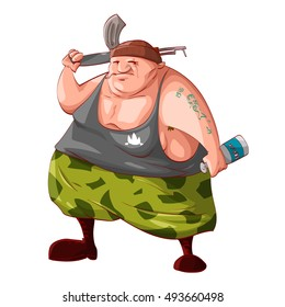 Colorful vector illustration of a cartoon fat drunk rebel / separatist guerilla fighter holding a bottle of vodka, smoking cigarette